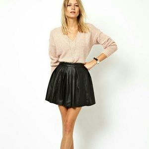 ASOS Pleated Faux Leather Skirt